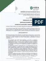 Respuesta de aceptación de la denuncia contra la refinería en Cadereyta.