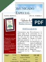Comunicado Especial Iglesia. Marzo 2010.