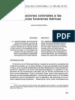 Aportaciones Coloniales a Las Creencias Funerarias Ibéricas