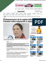 01-09-15 Parlamentarios de la región debatirán en Panamá sobre migración y seguridad