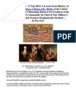 "A Lesson from History - Is Simply Being ""Born a Citizen"" Citizenship Enough to be President? The Founders and Framers Emphatically Decided It Was Not! - by CDR Charles Kerchner (Ret)"