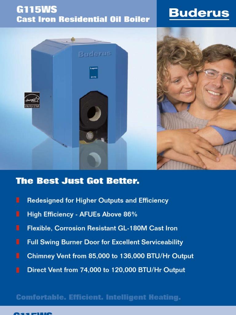 Buderus Logano G115WS Oil Fired Boiler Brochure | Water Heating ...