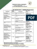 Calendário de Disciplinas 2014.1