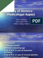 Duty o fDoctors -Medicolegal Aspect Doc POV