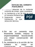 CARACTERÍSTICAS DEL CEMENTO PUZOLANICO