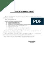 Certificate of Employment Private Nurse