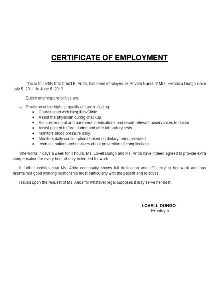 Certificate of employment private nurse yelopaper Images