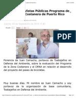 Comentarios Vistas Públicas Programa de Manejo Zona Costanera de Puerto Rico