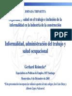Informalidad, administración del trabajo y salud ocupacional