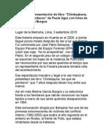 """Discurso de presentación de libro """"Chinkaqkuna, los que se perdieron"""" de Paola Ugaz con fotos de Marina García Burgos"""