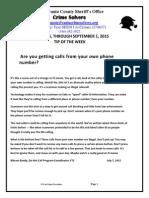 Spotsylvania Crime Solvers Report 8/26- 9/1/2015
