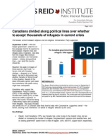 Angus Reid Poll_Canadians divided along political lines over whether to accept thousands of refugees in current crisis