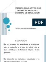 Terminos Educativos de La Ley General de Educacion