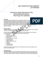 Construction Proj Waste Management Plan - SAMPLE