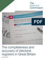 Electoral Commission Report on Electoral Registration