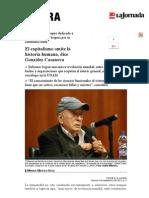 El Capitalismo Omite La Historia Humana, Dice González Casanova
