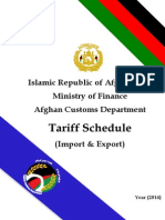 Afghanistan Customs Tariff 2014 English