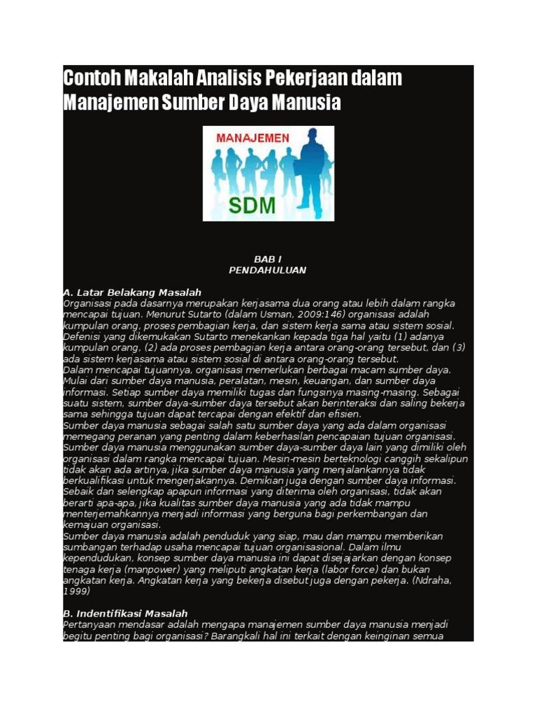 Contoh Makalah Analisis Pekerjaan Dalam Manajemen Sumber Daya Manusia Rev 5