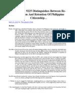 Acquisition of Philippine Citizenship