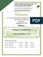 Frittage et Oxydation de L'intermétallique Ni-13%AL
