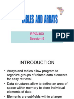 Session 9 Tables and Arrays