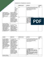 Calendario de Agosto ejemplo de calendario de evaluaciones mensual