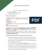 Especificaciones de Entrega Del Trabajo Colaborativo Fase 1