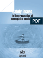 Quality and Safety Issues in the Preparation of Homeopathic Medicines - 2009 by WHO