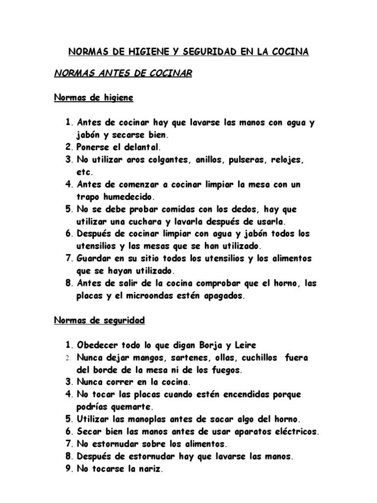 Normas del taller de cocina for Normas de higiene personal en la cocina