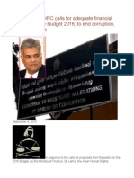 SRI LANKA AHRC Calls for Adequate Financial Allocation in the Budget 2016, To End Corruption, Fraud and Waste