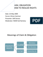 Claim,Obligation,Mechanism to Realize Rights
