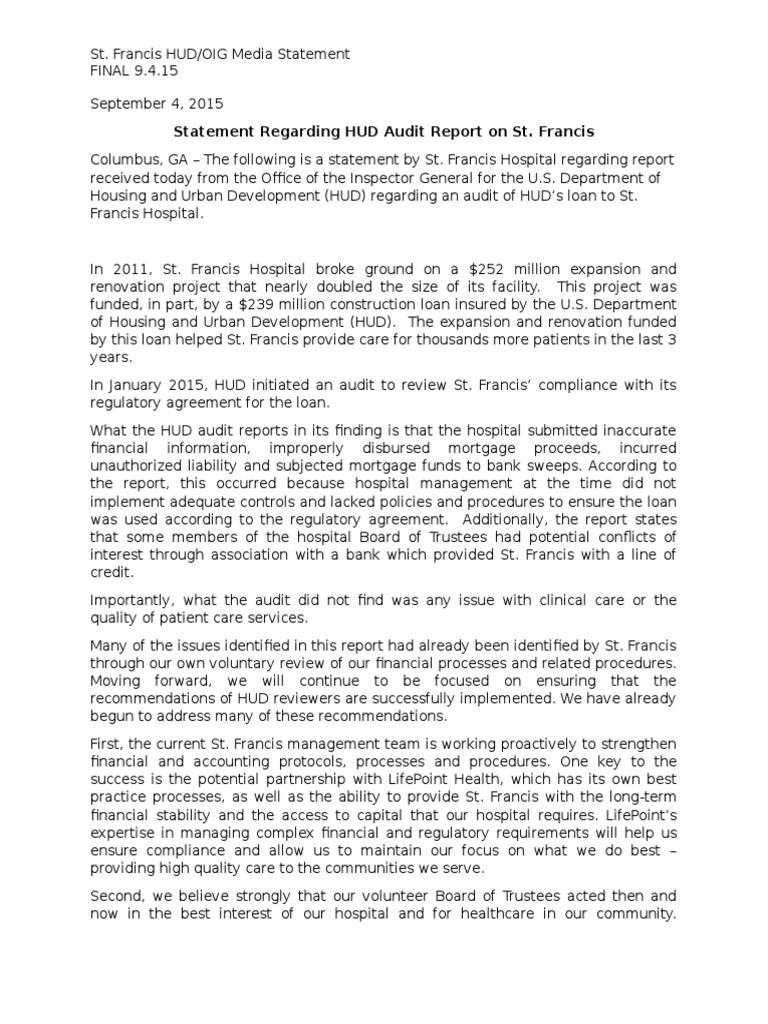 Statement regarding HUD Audit Report on St  Francis | United
