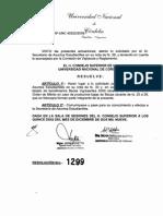 Resolución Honorable Consejo Superior UNC 1299/2009