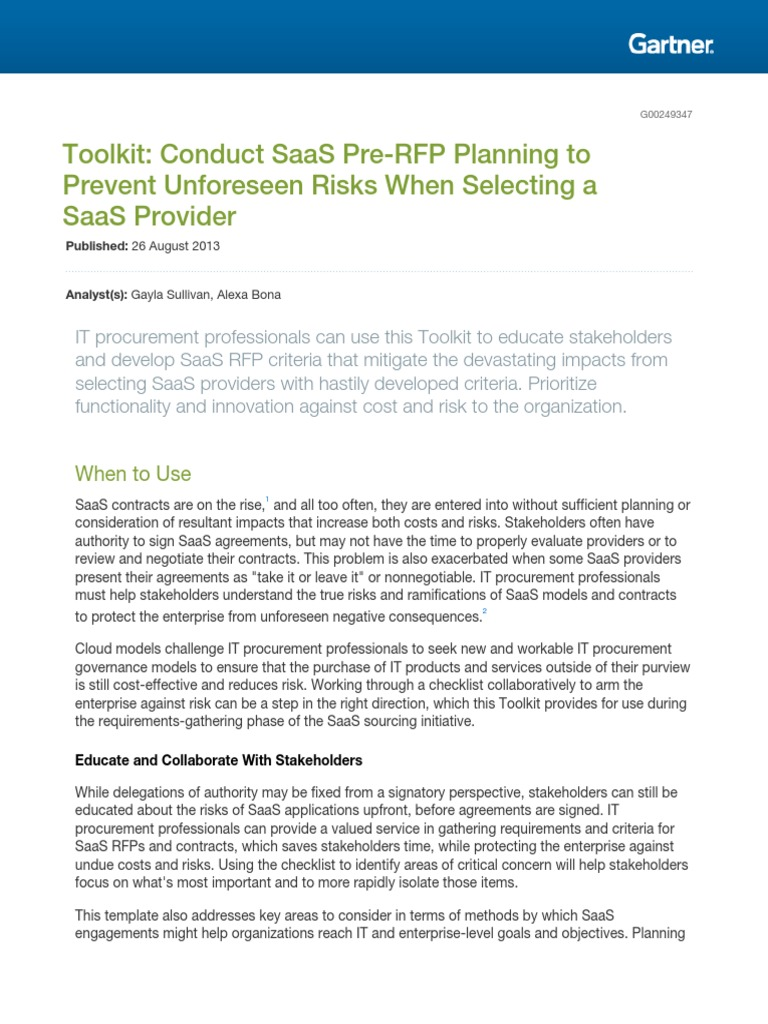 Toolkit Conduct Saas Prerfp 249347 | Request For Proposal