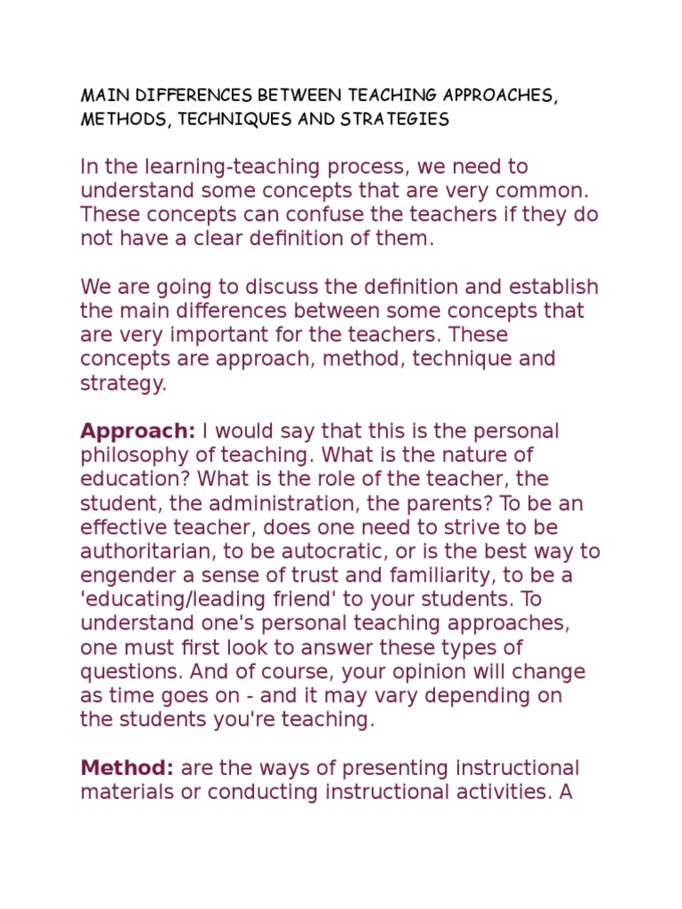 Main Differences Between Teaching Approaches | Teachers