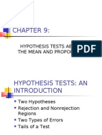 Hypothesis Tests About the Mean and Proportion