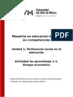 Actividad de Aprendizaje 1.1. Ensayo Economico