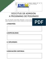 Formulario Solicitud de Admisión 2015