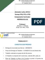 Lista de hidraulica (Condutos Sob Pressão) (2015.2)
