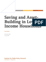 Saving and Asset Building in Low Income Households