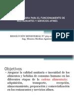 NORMA SANITARIA PARA EL FUNCIONAMIENTO DE RESTAURANTES Y SERVICIOS AFINES