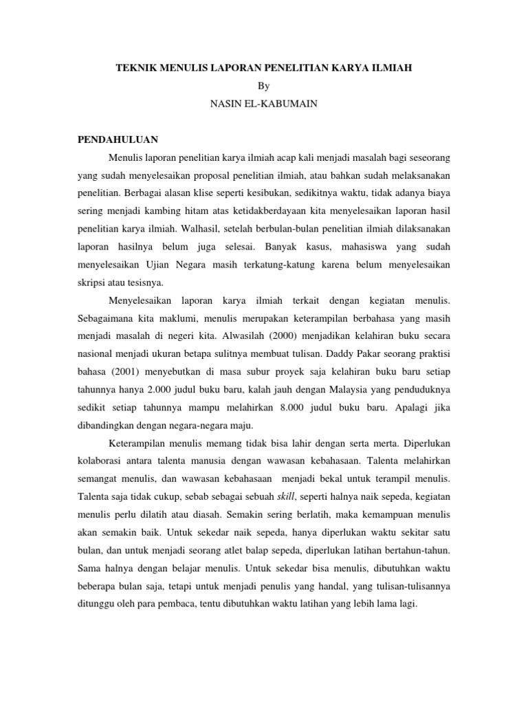 Teknik Menulis Laporan Penelitian Karya Ilmiah