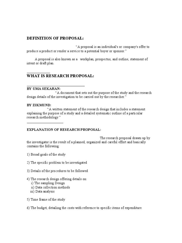 Research proposal memo