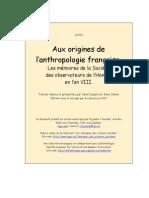 COPINS, Jean. Aux Origines de L'Anhropologie Française