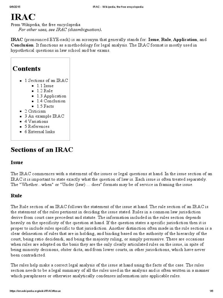 Irac Essay Format