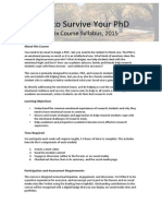 Survive Your PhD - 2015 Syllabus and Schedule