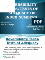 tests of adequacy of index numbers