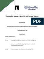 London School in Intellectual History 2015 - Programme