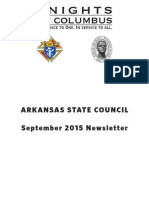Arkansas Knights of Columbus Newsletter September 2015
