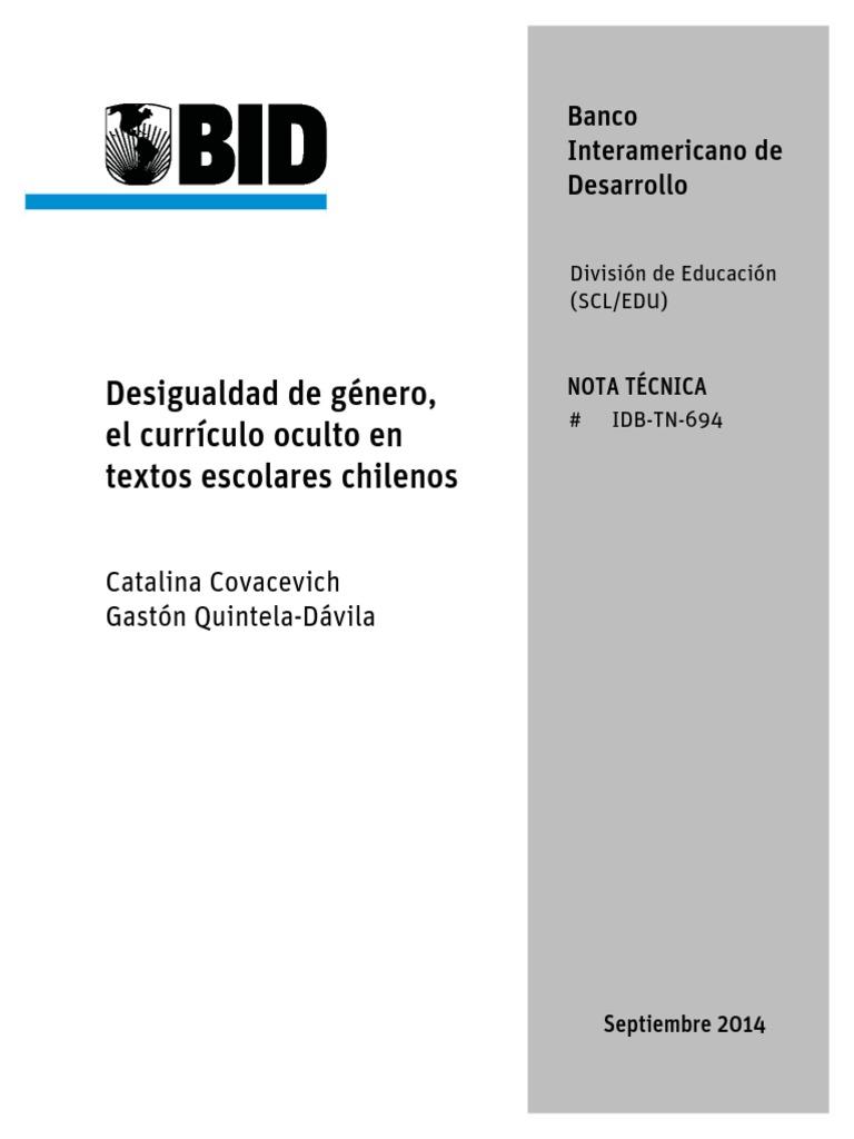 Desigualdad de Género, El Currículo Oculto en Textos Escolares Chilenos